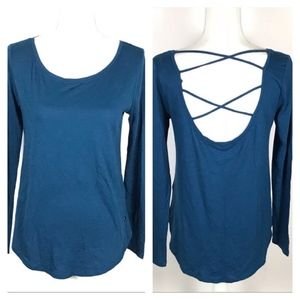 Hollister Blue Criss Cross Back LS Must Have Tee S